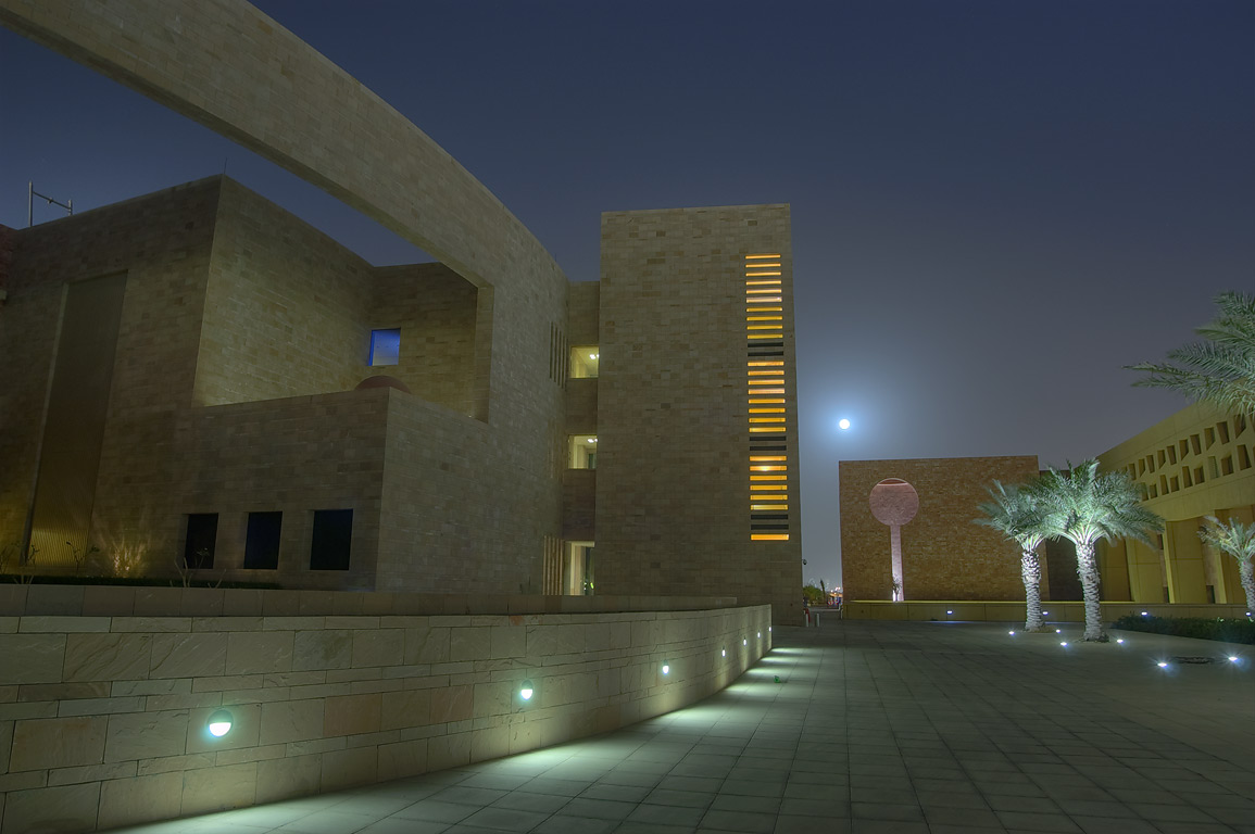 Carnegie Mellon University in Education City campus at moonrise. Doha, Qatar