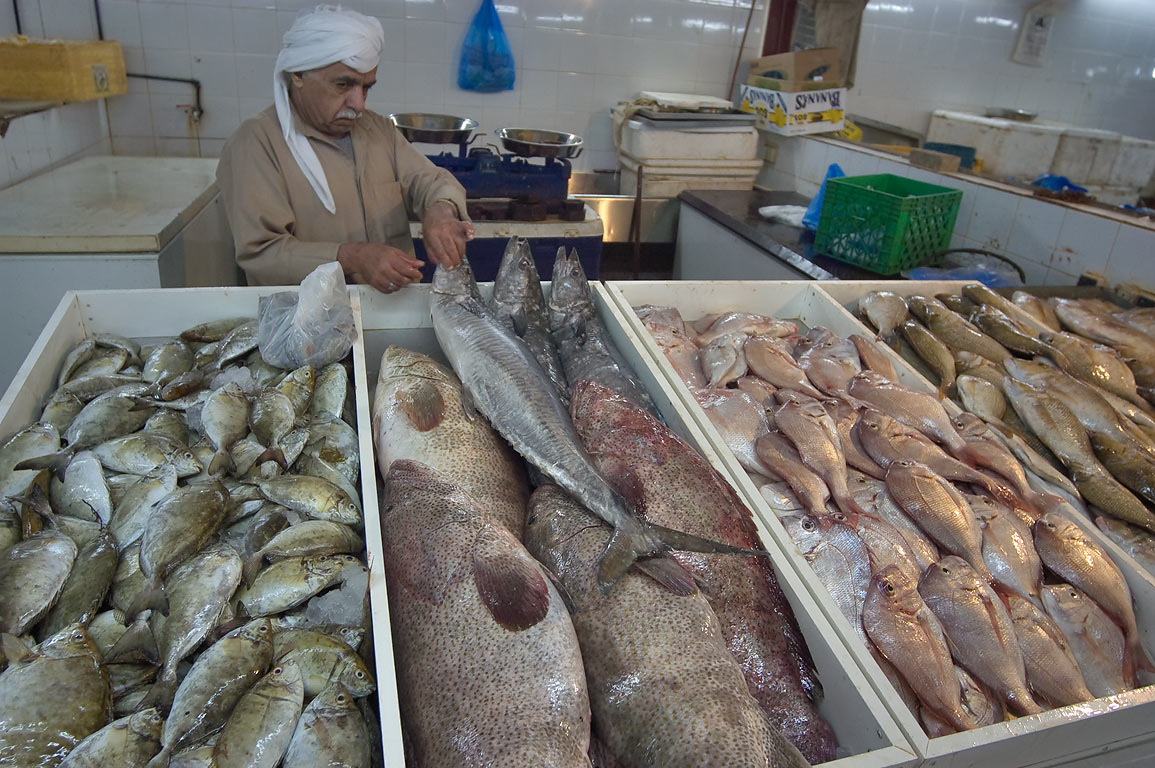 Vendor arranging fishes on a stall for sale in Central Fish Market. Doha, Qatar