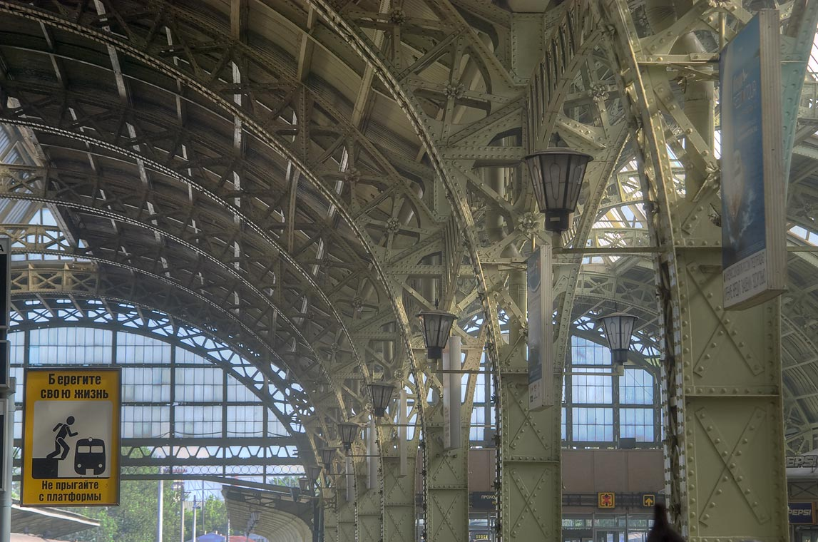 Steel arches of Vitebsky Vokzal (train station). St.Petersburg. Russia