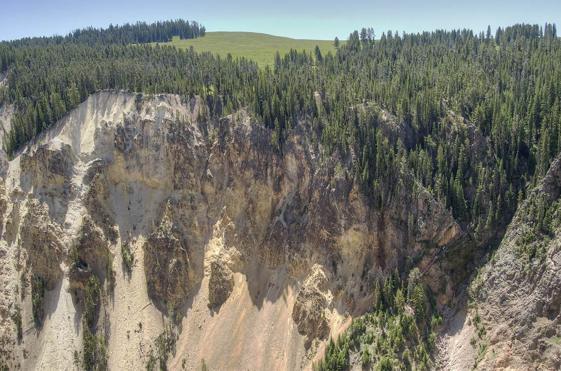 Canyon of Yellowstone River from Grand View...Village. Yellowstone Park, Wyoming