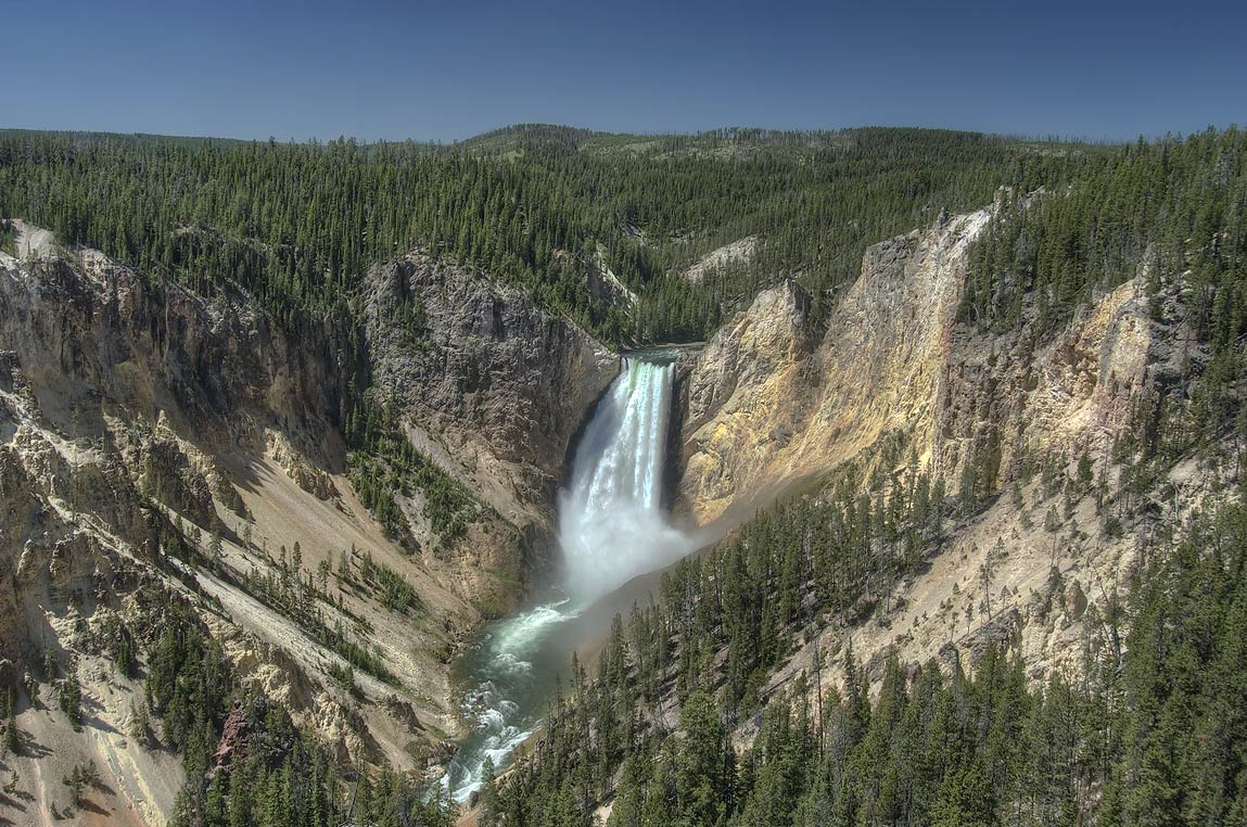 Lower Falls of Yellowstone River from Grand View...Village. Yellowstone Park, Wyoming