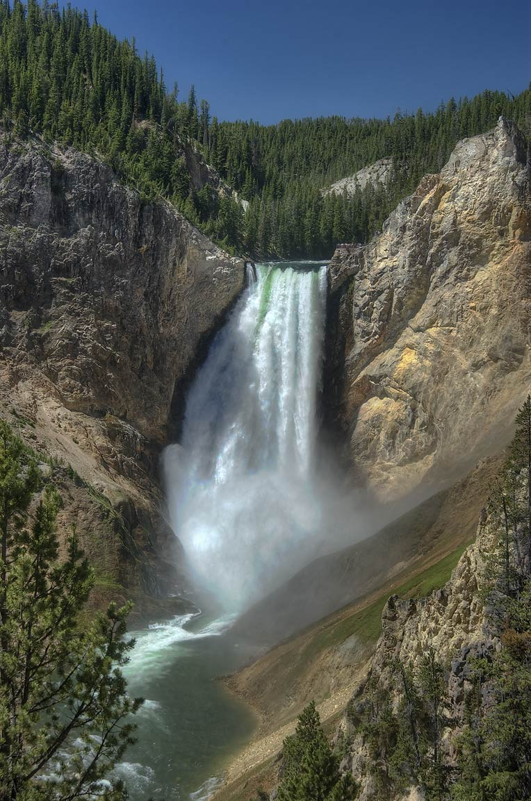 Lower Falls of Yellowstone River from a lookout...Village. Yellowstone Park, Wyoming