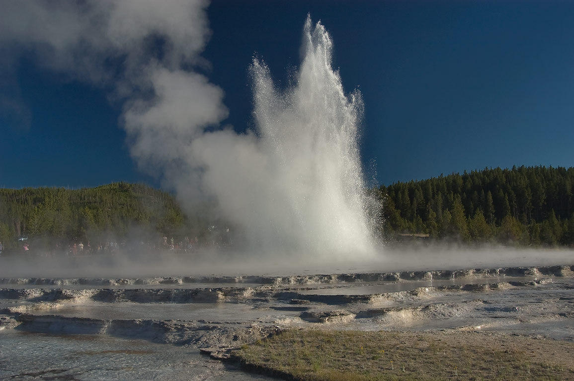 Great Fountain Geyser, view from Firehole Lake Dr.. Yellowstone Park, Wyoming