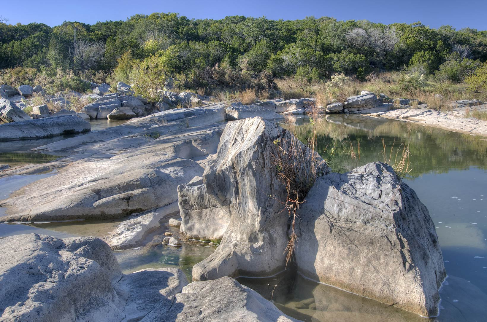 Pedernales river above the falls. Johnson City, Texas