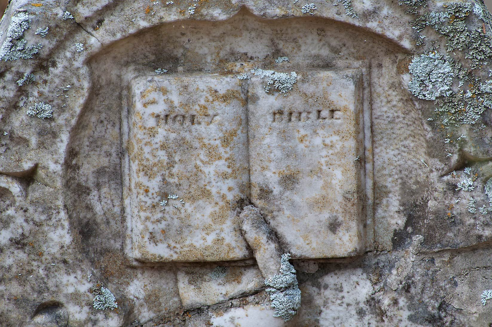 Bible on a tombstone in Boonville Cemetery. Bryan, Texas