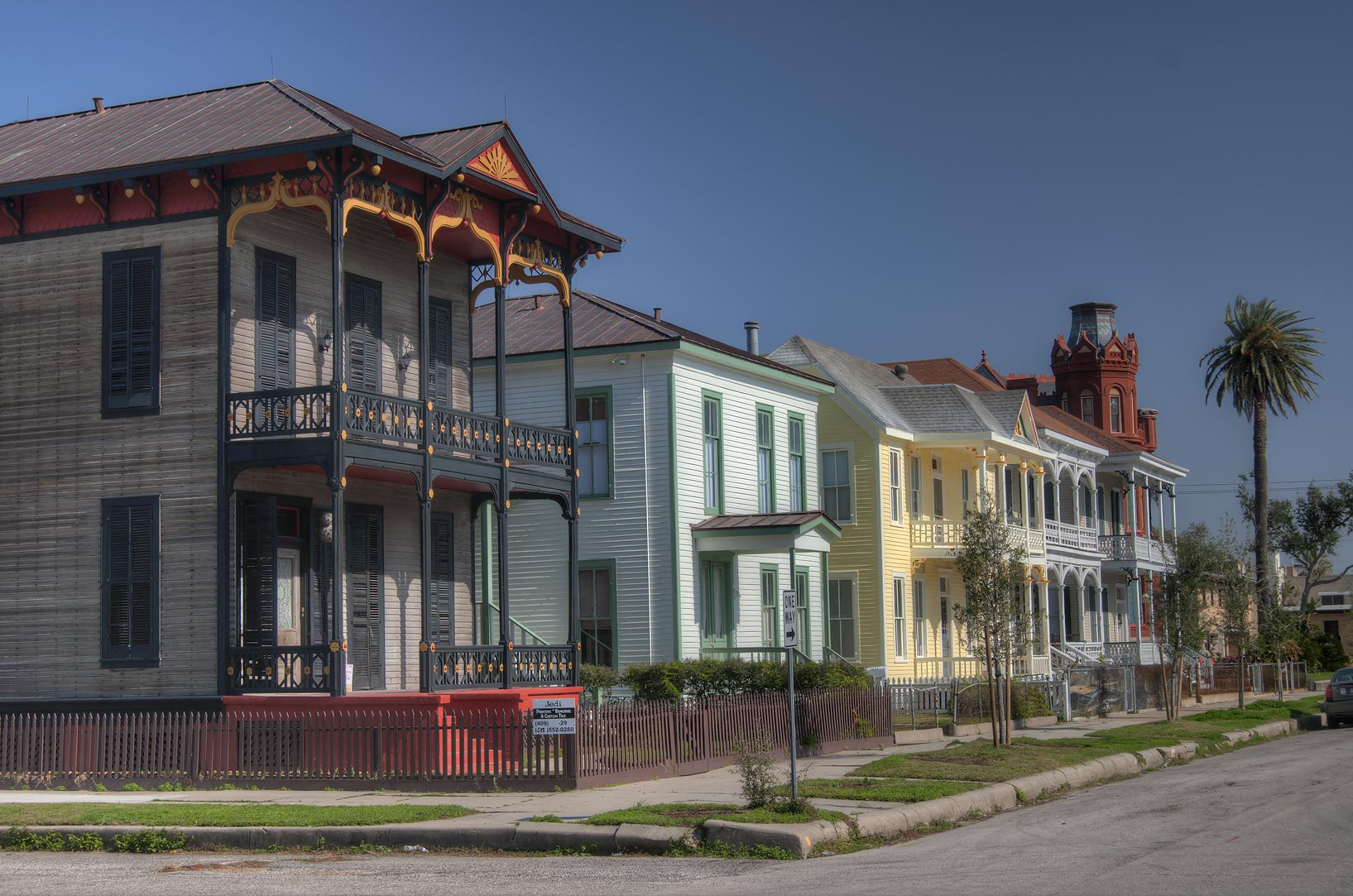 Postoffice St. in East End Historic District...1888) in foreground. Galveston, Texas