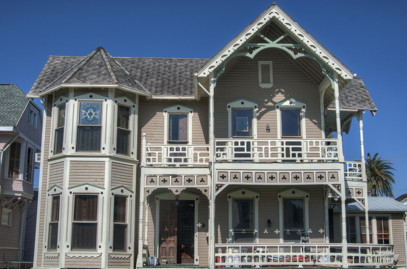 Front view of N. Grumbach House (1887) at 1718...Historic District. Galveston, Texas