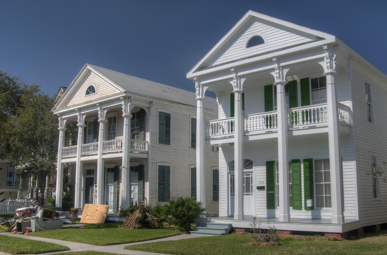 Houses on Sealy Street in East End Historic District. Galveston, Texas