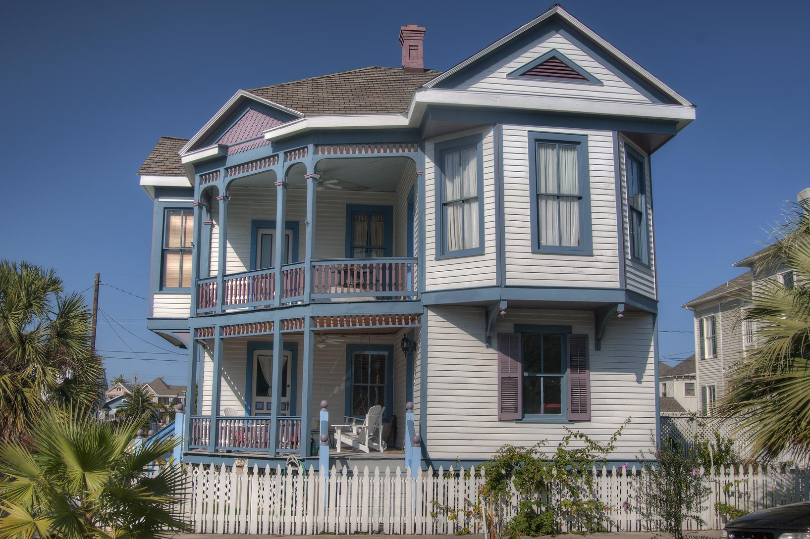 Corner of 17th and Ball streets in East End Historic District. Galveston, Texas