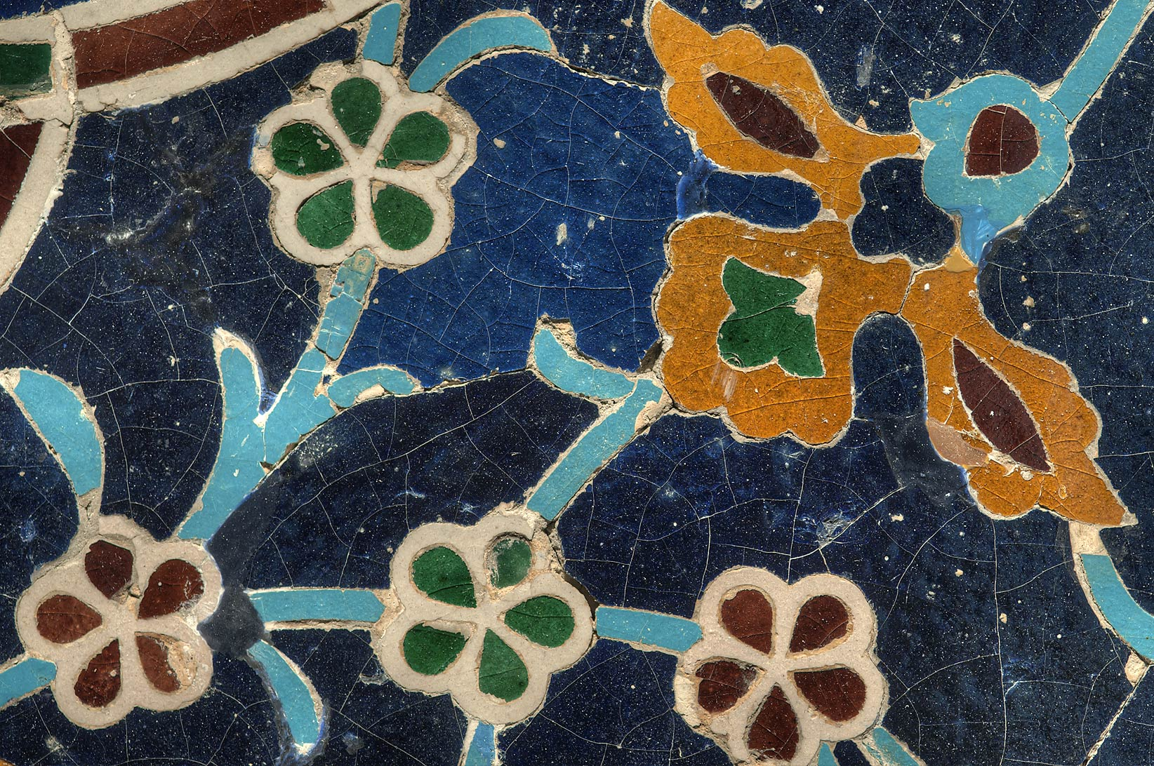 Mosaic tile from a panel fragment (15th century...in Museum of Islamic Art. Doha, Qatar