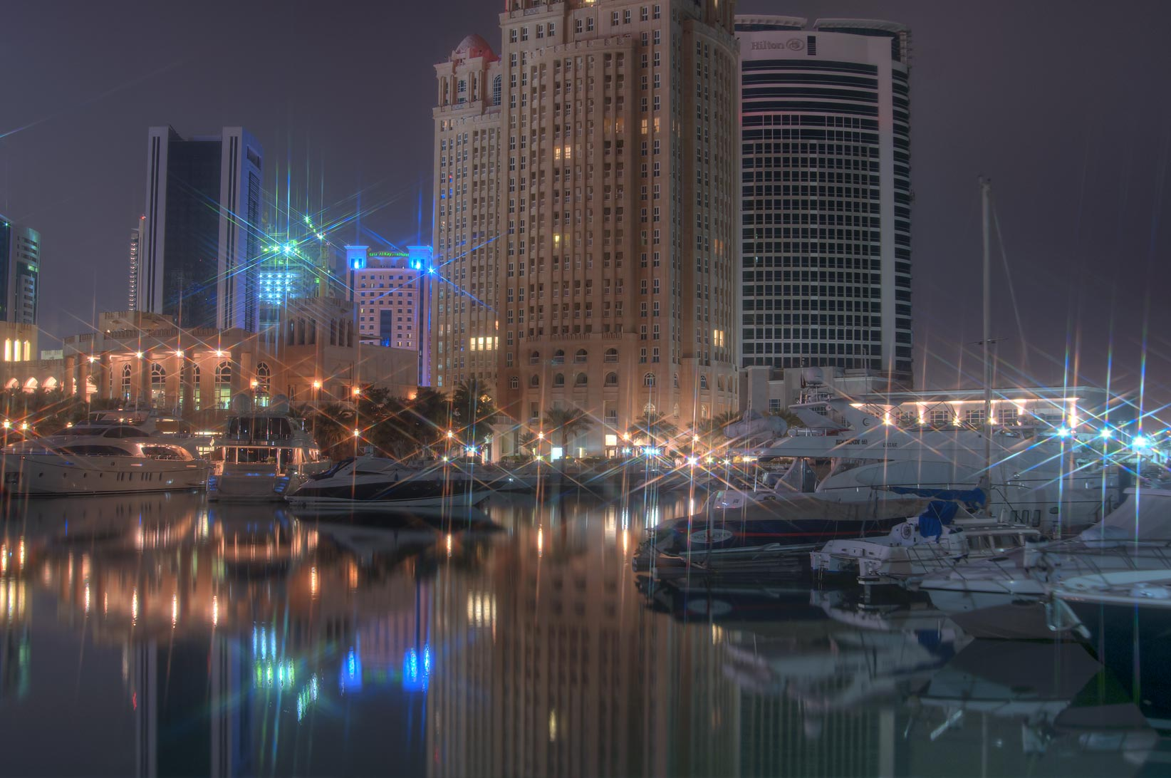 Vessels in marina of Four Seasons Hotel at morning. Doha, Qatar