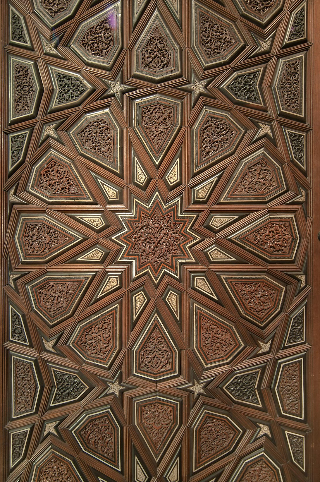 Geometrical pattern of stars and interlaced multi...in Museum of Islamic Art. Doha, Qatar