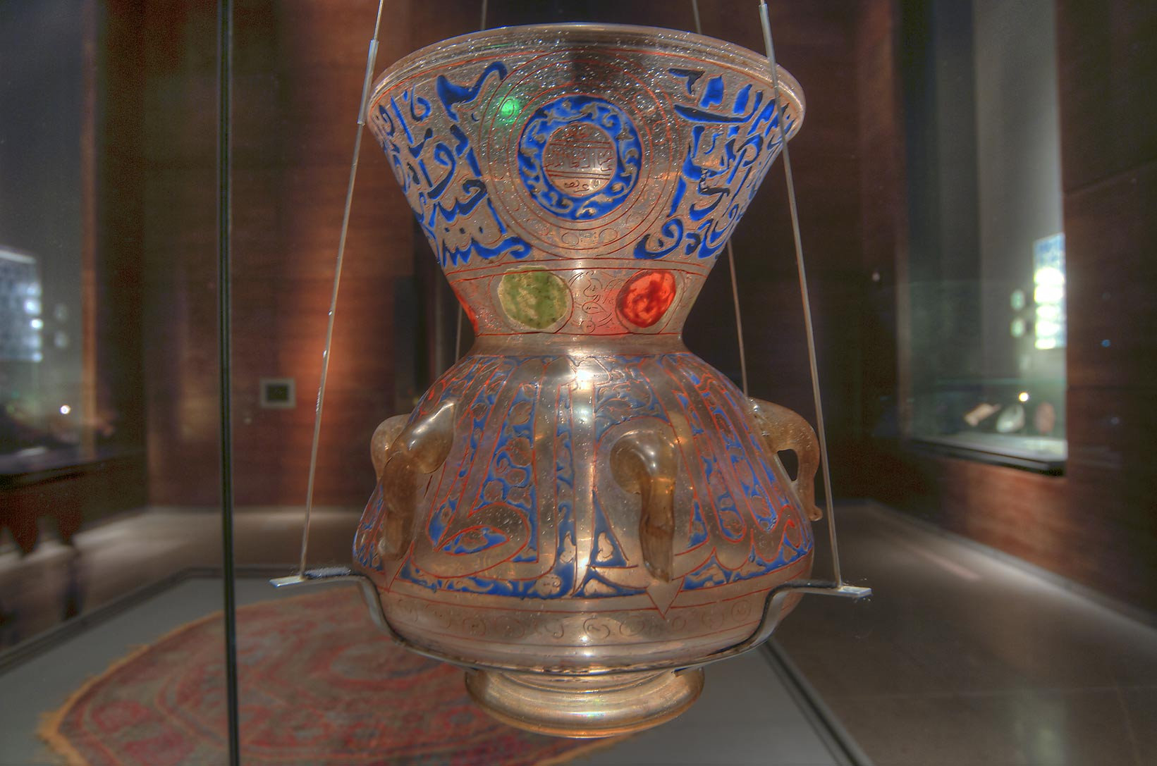 Mosque lamp (glass, vitreous enamel) on display in Museum of Islamic Art. Doha, Qatar