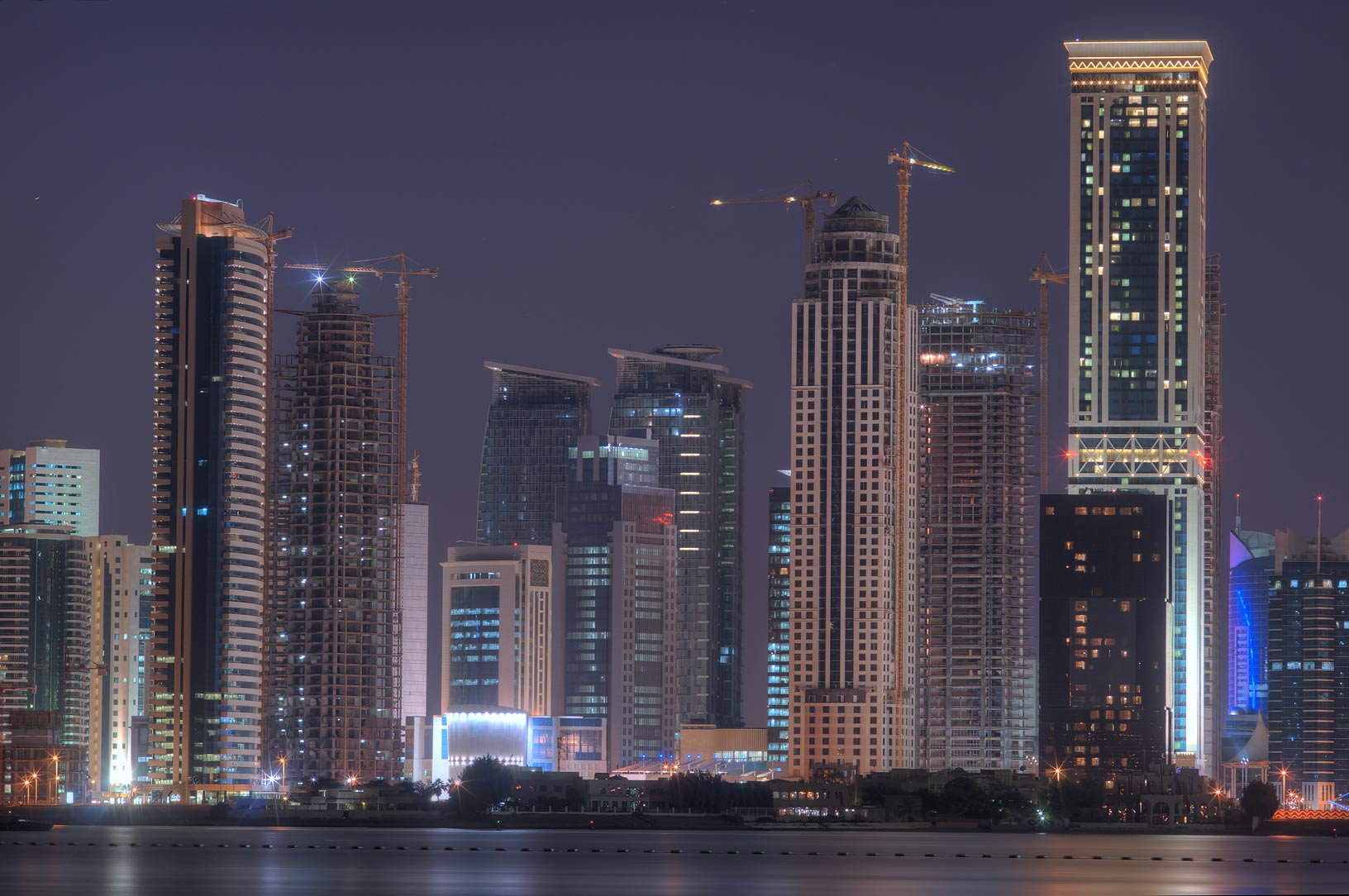 Diplomatic area of West Bay from a beach south of InterContinental Hotel. Doha, Qatar