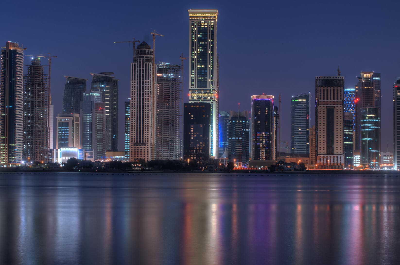 Area around Kempinski Hotel of West Bay from a...of InterContinental Hotel. Doha, Qatar