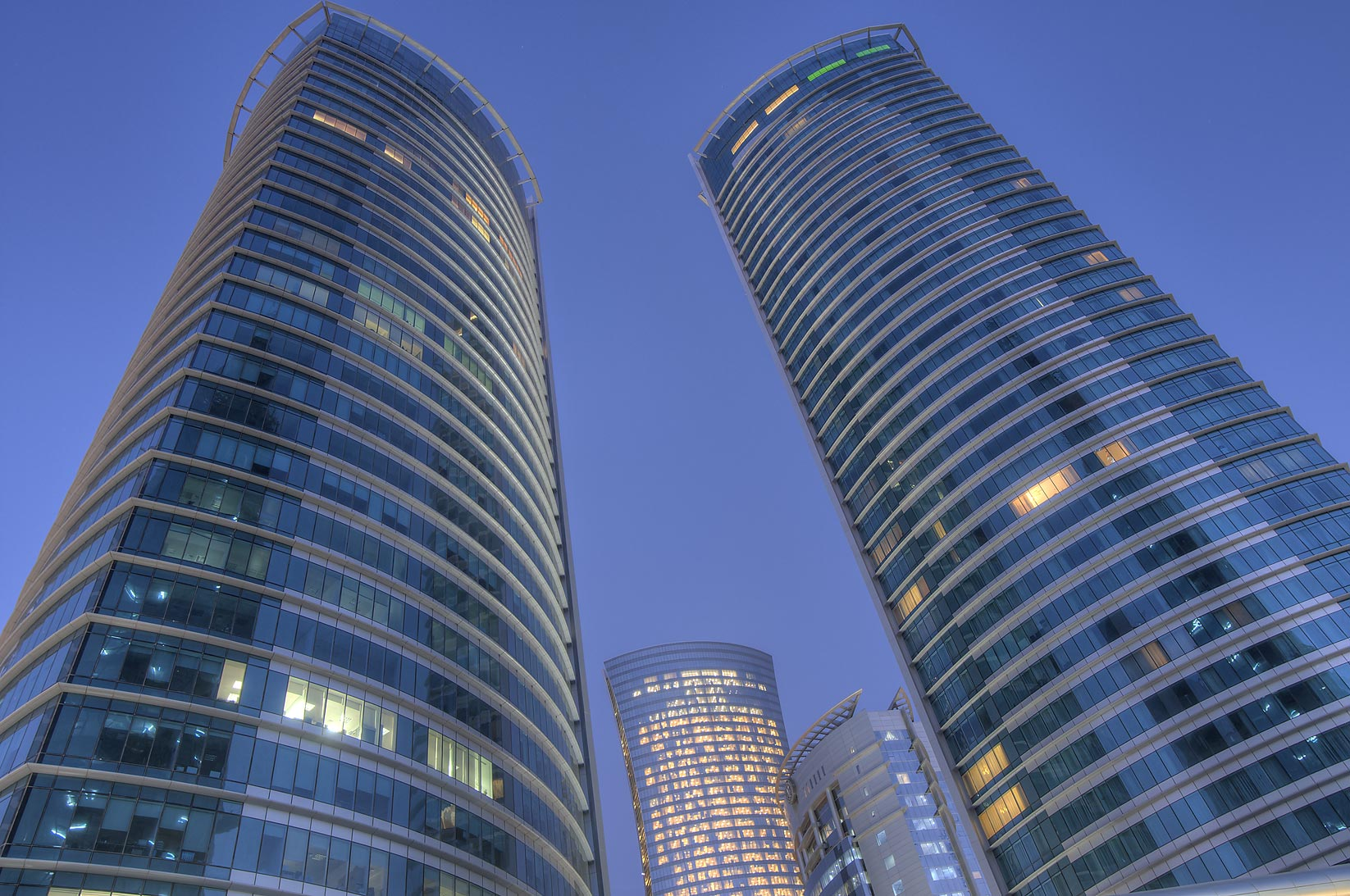 Al Fardan twin towers in West Bay at morning...of City Center Mall. Doha, Qatar