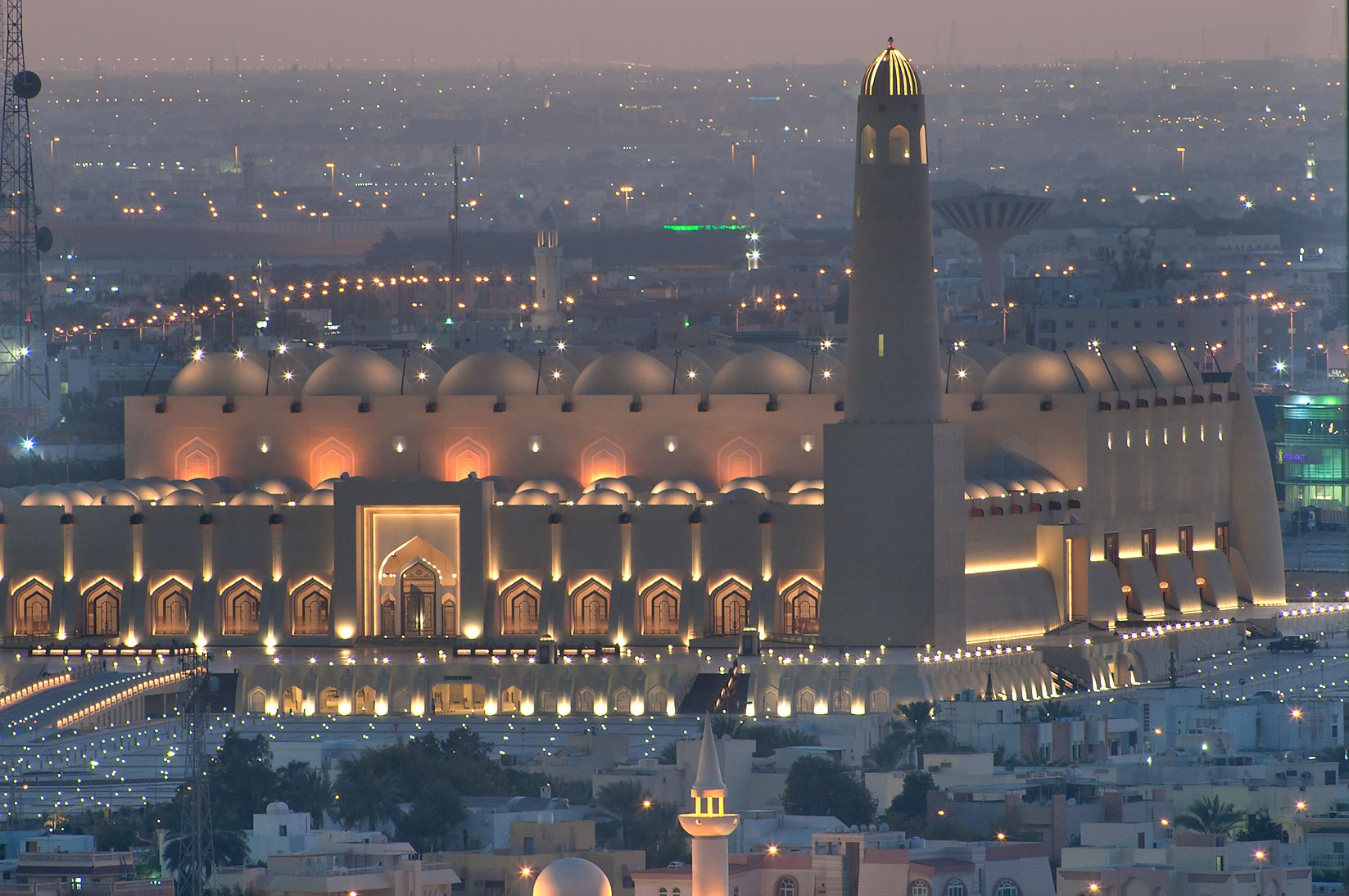 State Mosque at Al-Khuwair at sunset from a...2303 of ASAS Tower West. Doha, Qatar