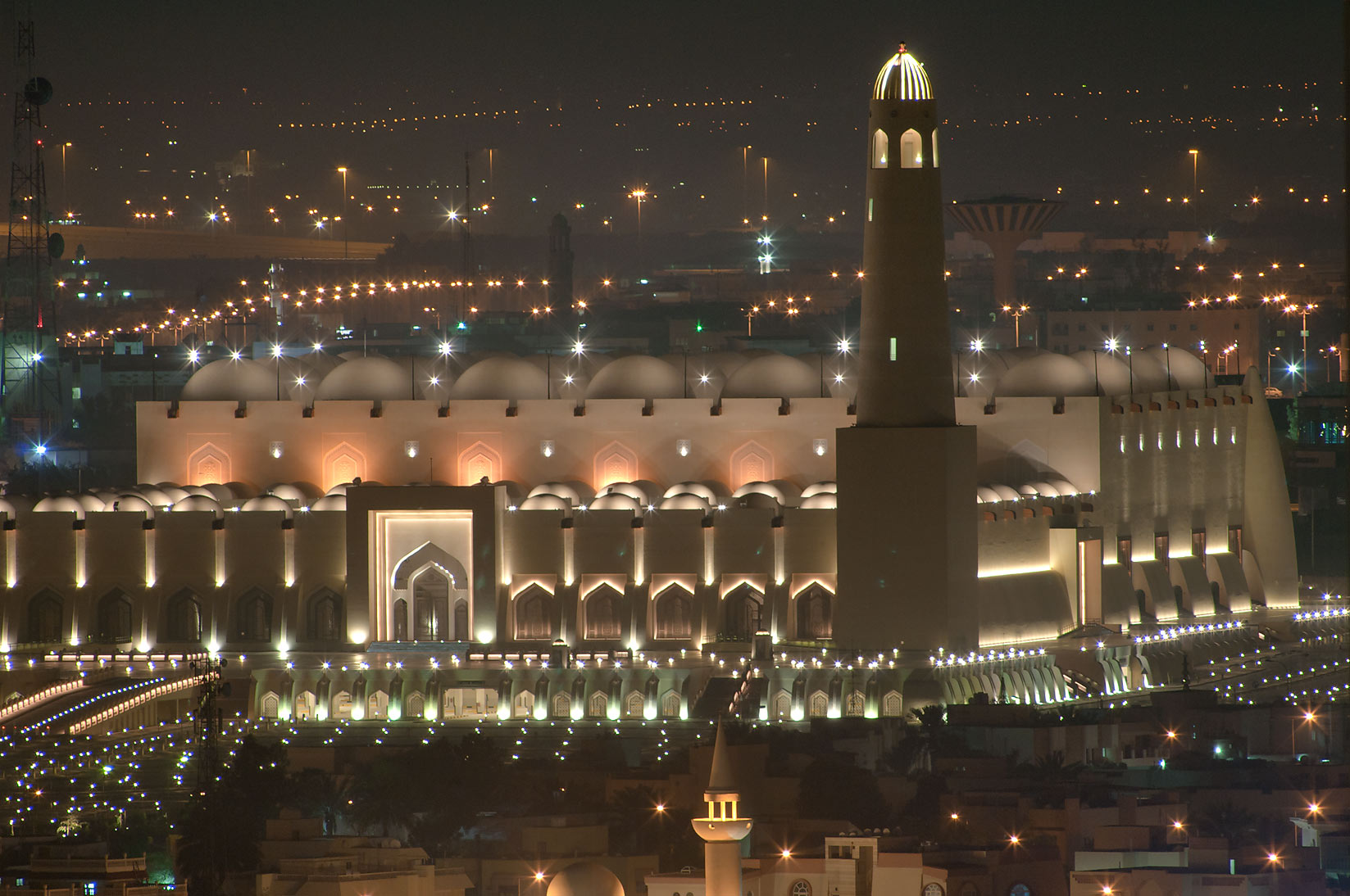 State Mosque at Al-Khuwair at evening from a...2303 of ASAS Tower West. Doha, Qatar