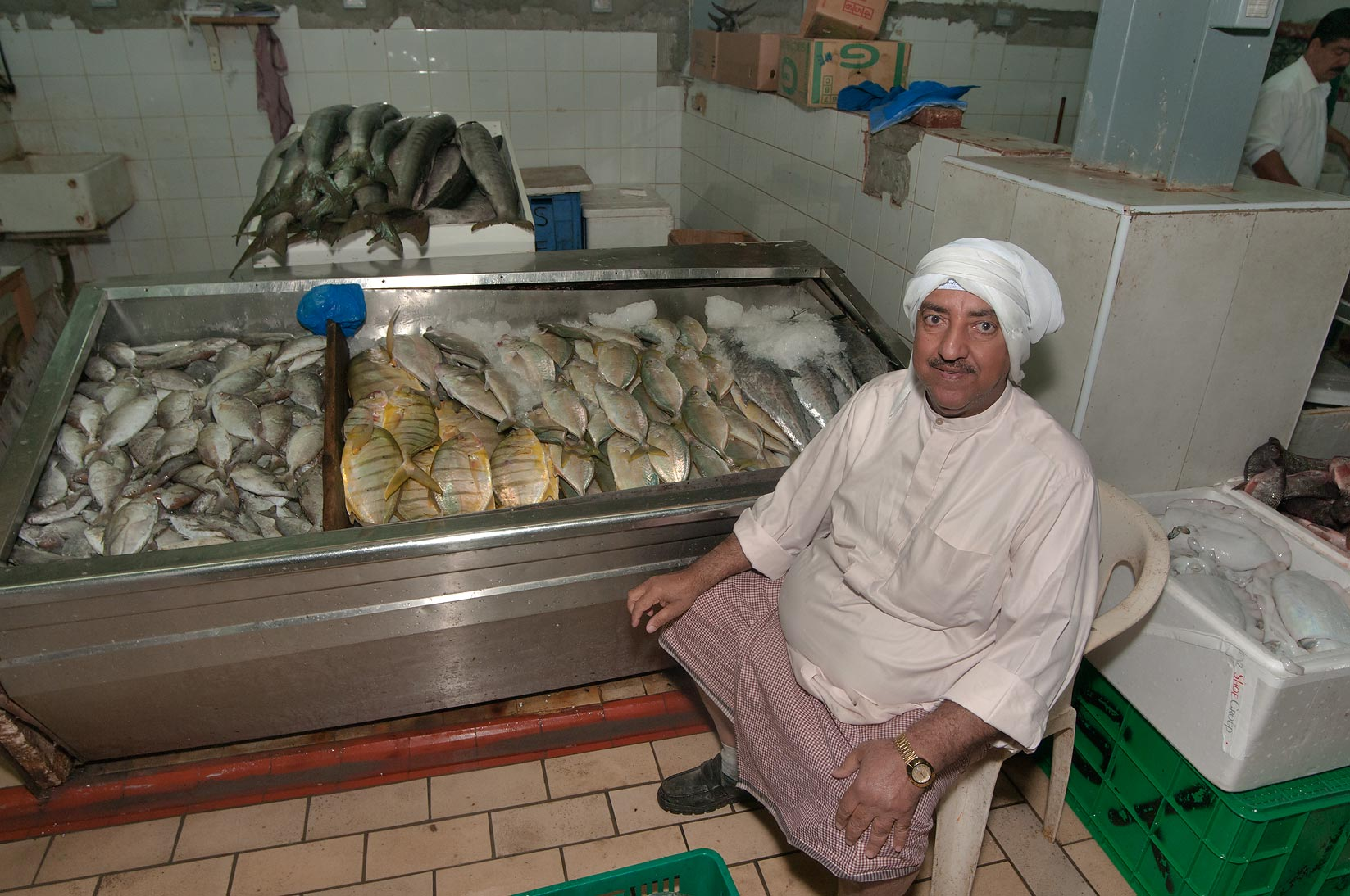 Fish stall in Central Fish Market. Doha, Qatar