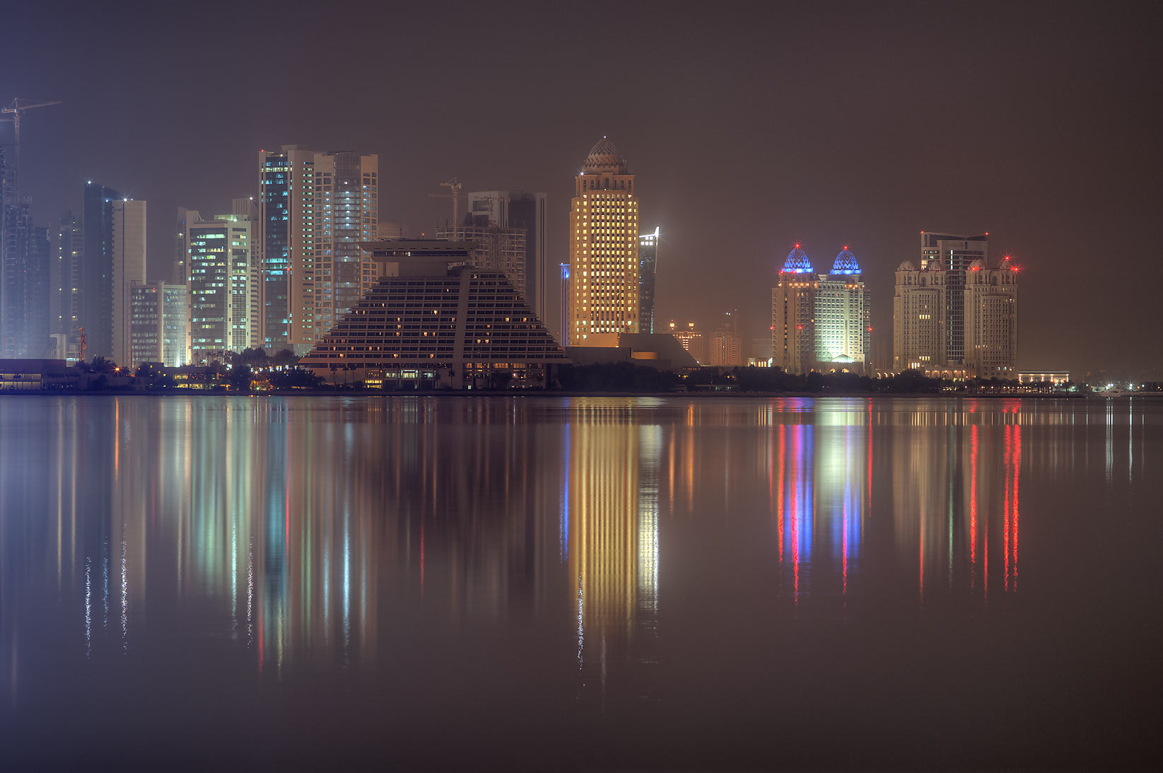 Sheraton Hotel and West Bay across the gulf, view from Corniche. Doha, Qatar