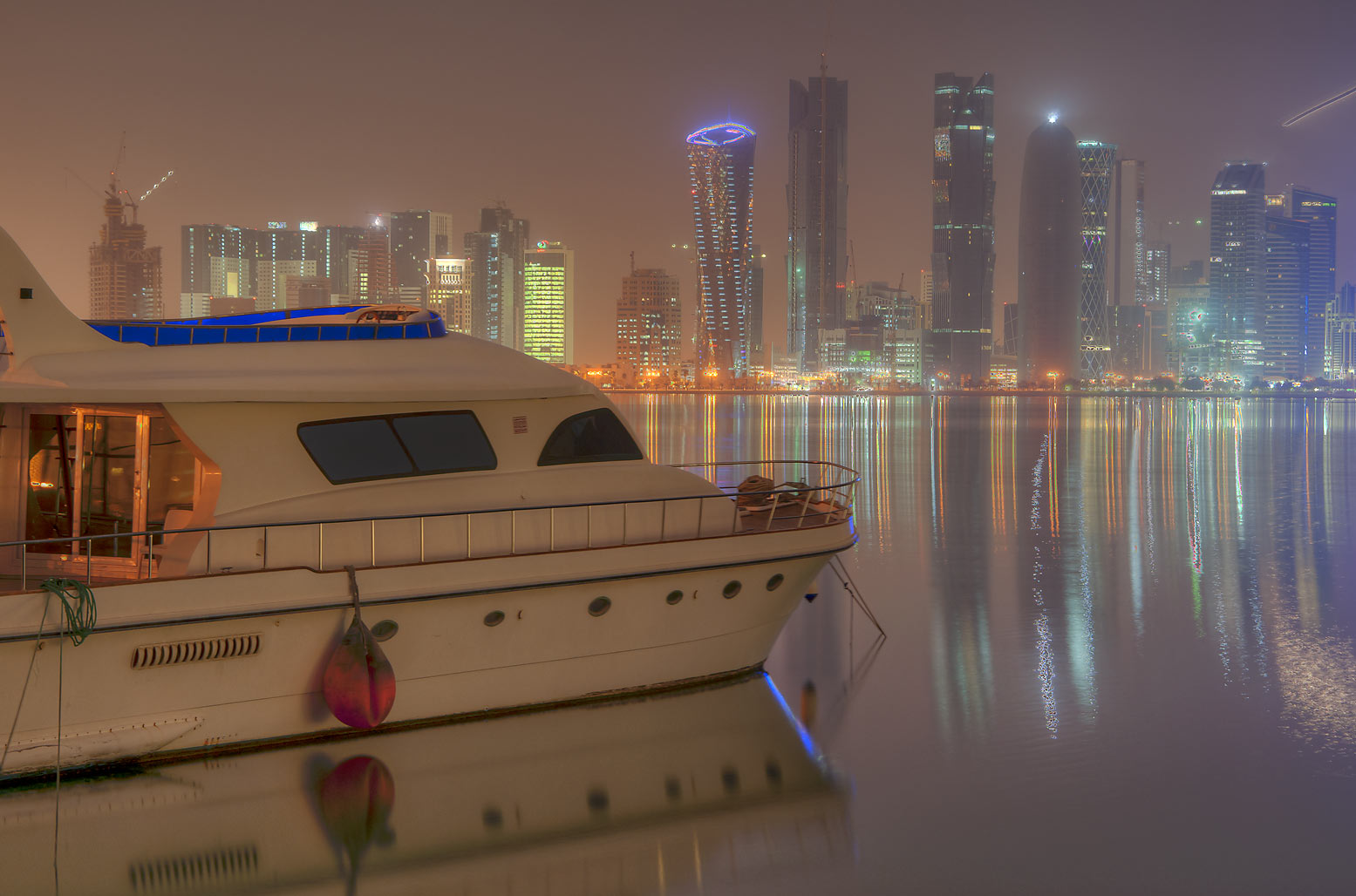 View of West Bay from boat harbor. Doha, Qatar