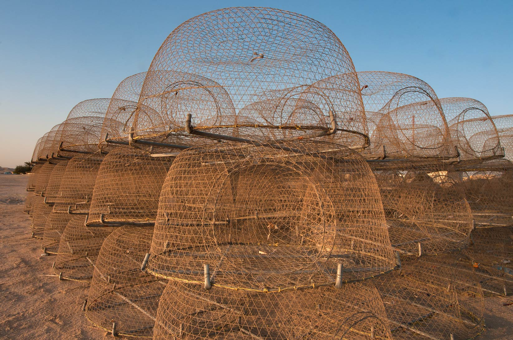 Domed wire fish traps (local name gargoor) at sunrise. Al Wakrah, Qatar
