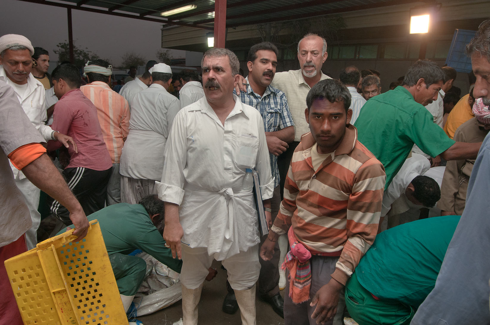 Buyers in wholesale Central Fish Market. Doha, Qatar