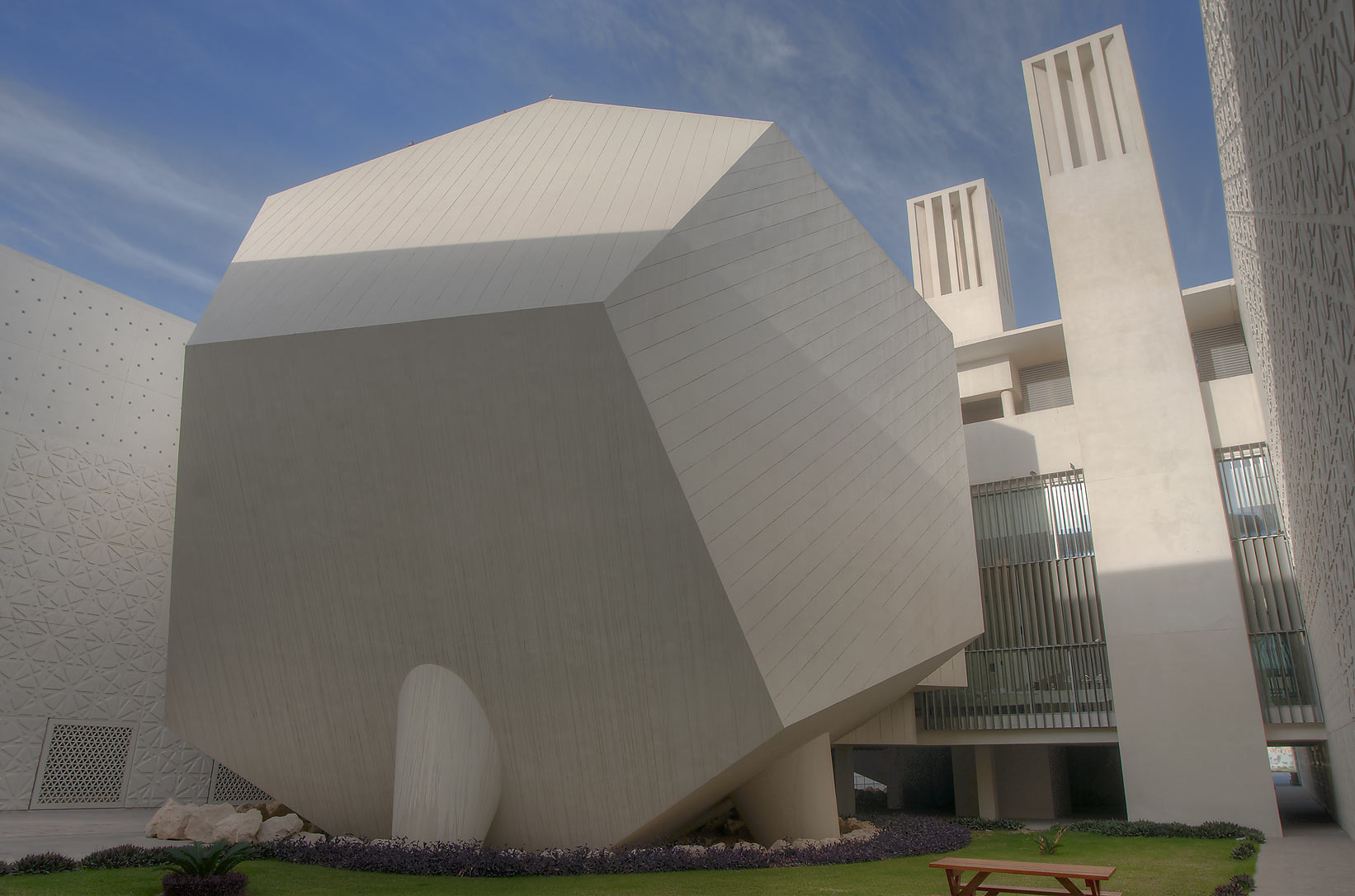 Dodecahedron hall of Weill Cornell Medical College in Education City campus. Doha, Qatar