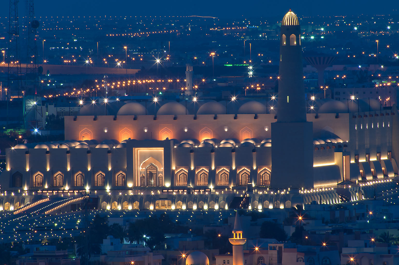 State Mosque at Al-Khuwair at evening dusk, view...2303 of ASAS Tower West. Doha, Qatar