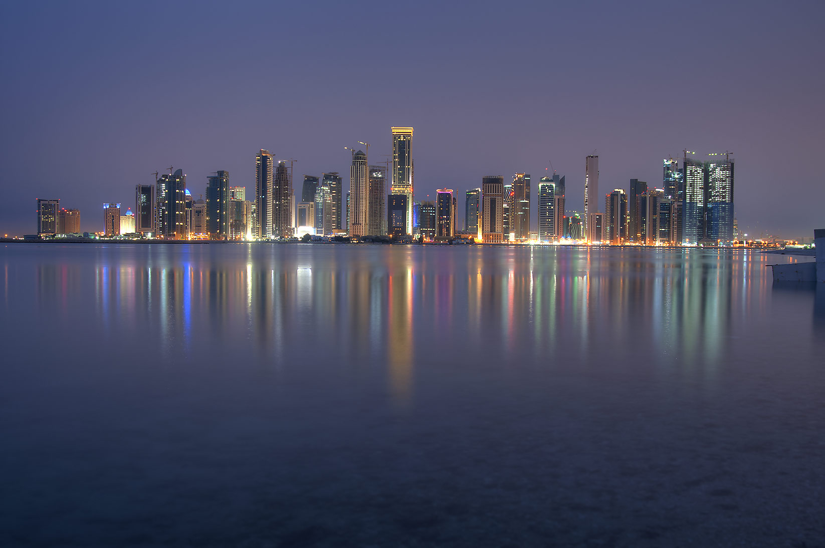 Northern area of West Bay from a beach south of...Hotel at morning dusk. Doha, Qatar