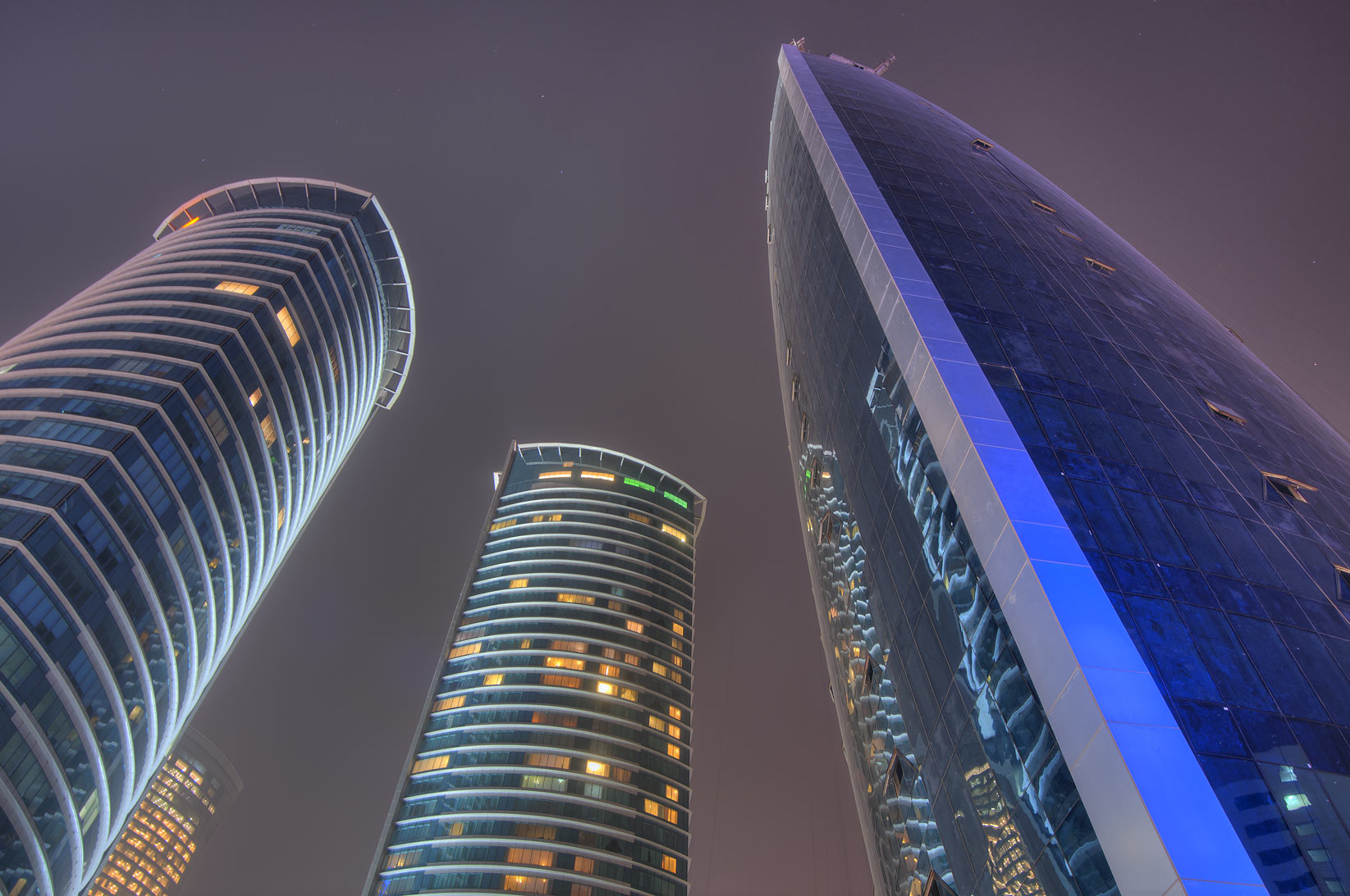 Twin Al Fardan and Woqod towers in West Bay at morning. Doha, Qatar