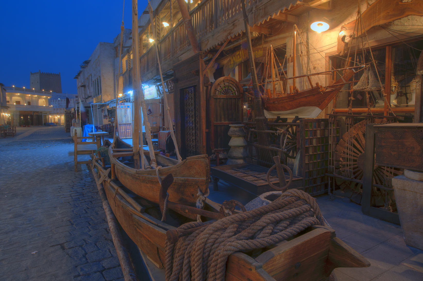 Antique shops in Souq Waqif (Old Market) at morning. Doha, Qatar