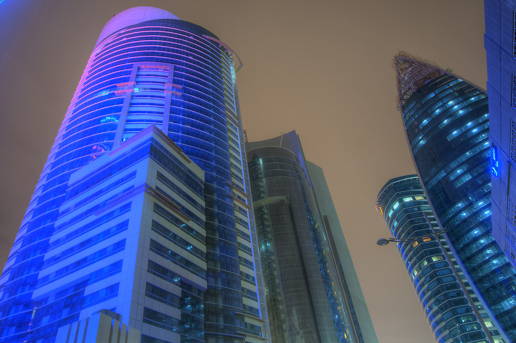 A street in West Bay north from Sheraton Roundabout. Doha, Qatar