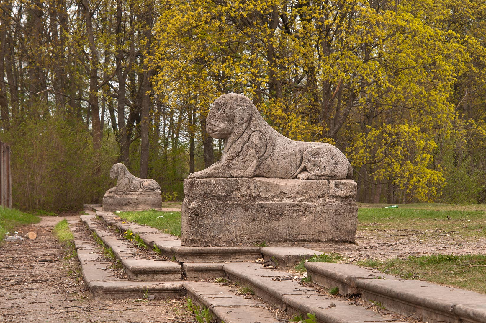 Stone sphinxes in Gatchina Park, suburb of St.Petersburg. Russia