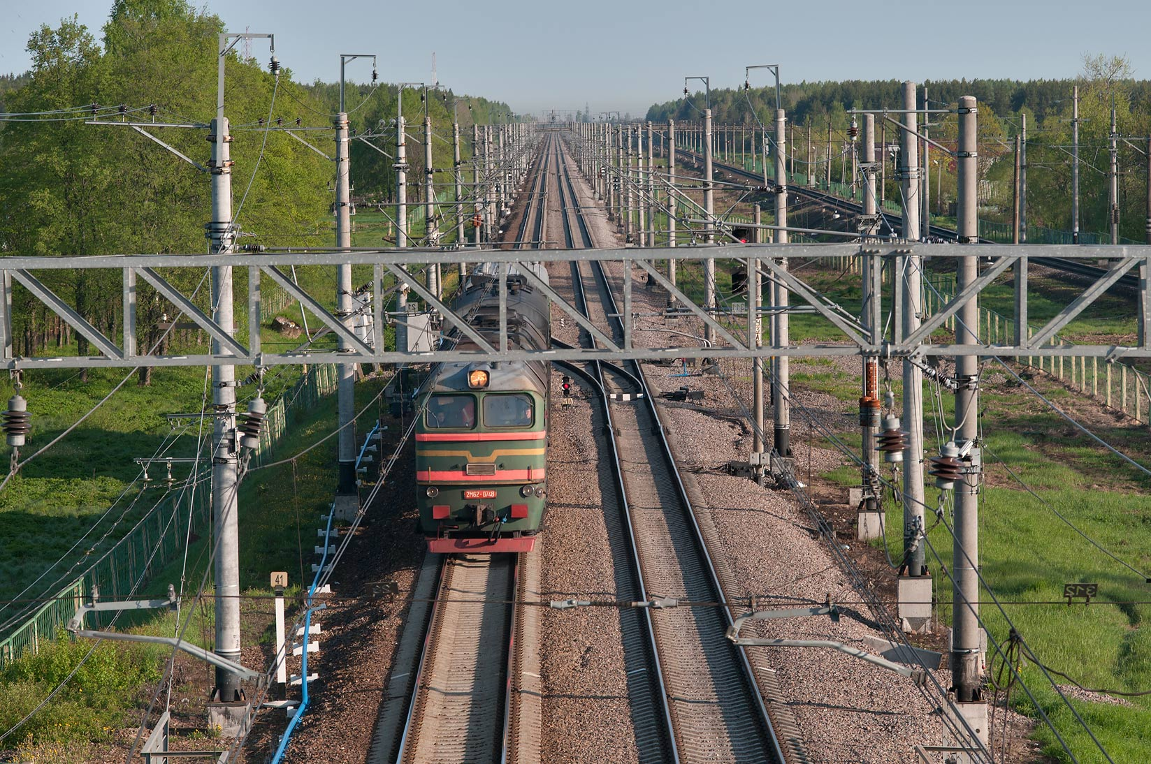 View from railroad overpass in Sablino, south from St.Petersburg. Russia