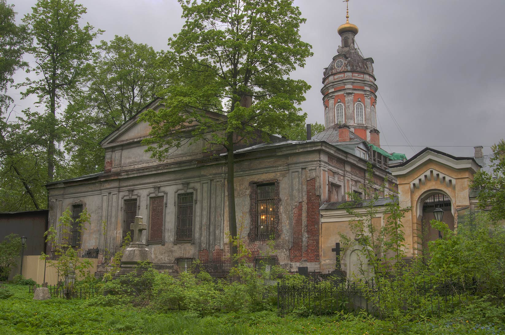 View of a monastery from Nikolskoe Cemetery of...Nevsky Lavra. St.Petersburg, Russia