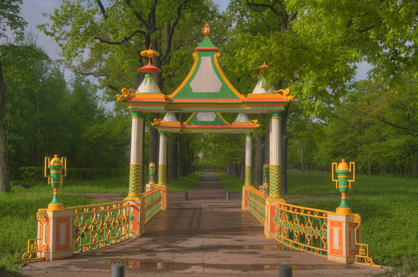 Small Chinese Bridge in Aleksandrovsky Park...south from St.Petersburg, Russia
