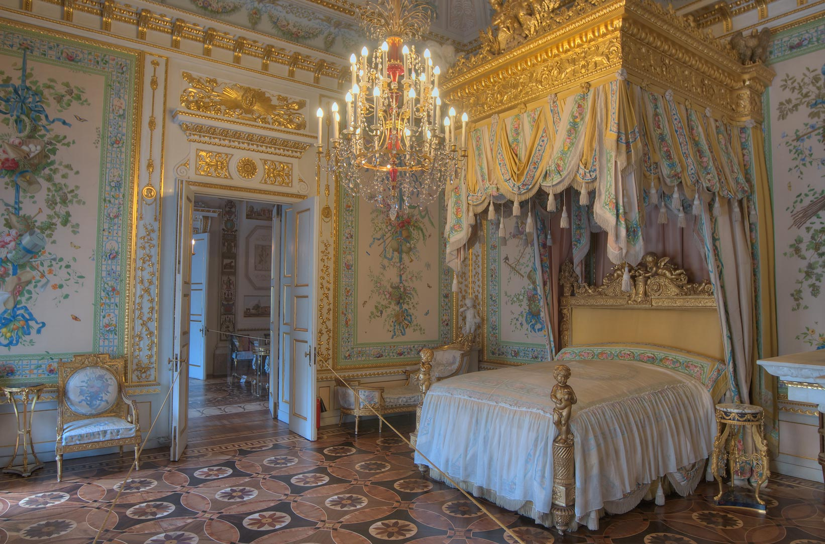 Grand bedroom in Pavlovsky Palace. Pavlovsk, a suburb of St.Petersburg, Russia