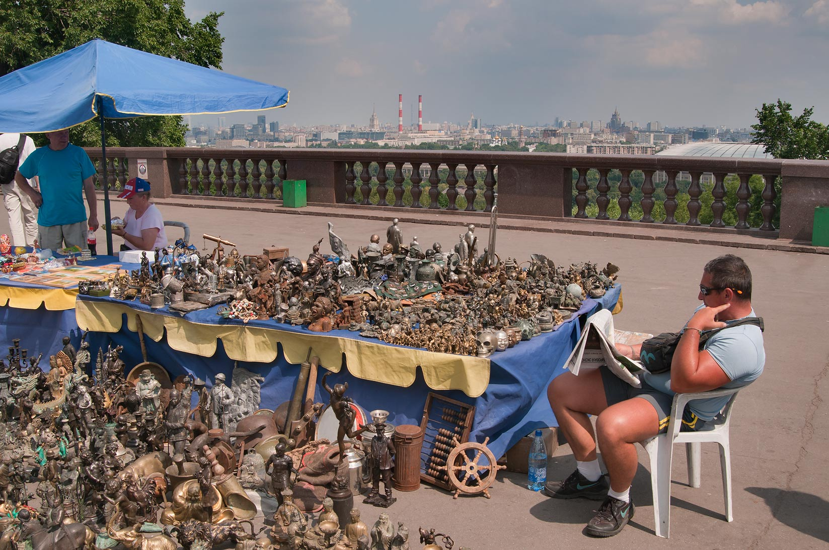 Souvenir stand at overlook of Vorobyovy Gory. Moscow, Russia