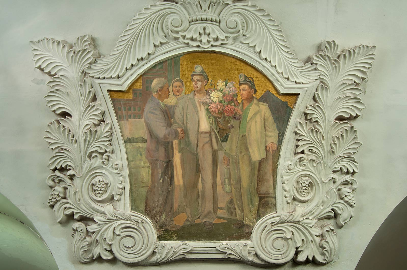 Fresco with figures of workers of Soviet Ukraine...Pokrovskaya Line. Moscow, Russia