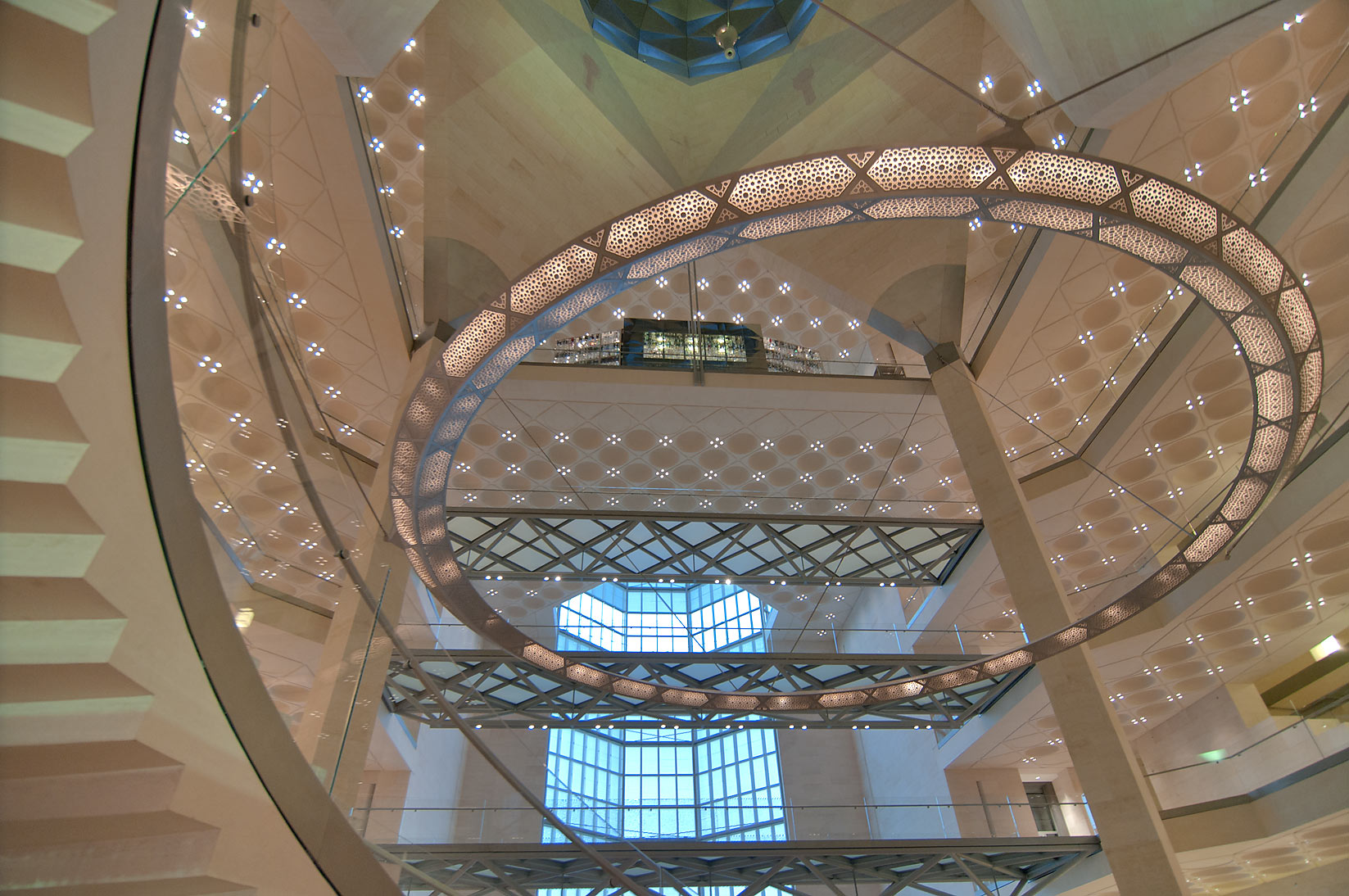 Perforated metal chandelier of Museum of Islamic Art. Doha, Qatar