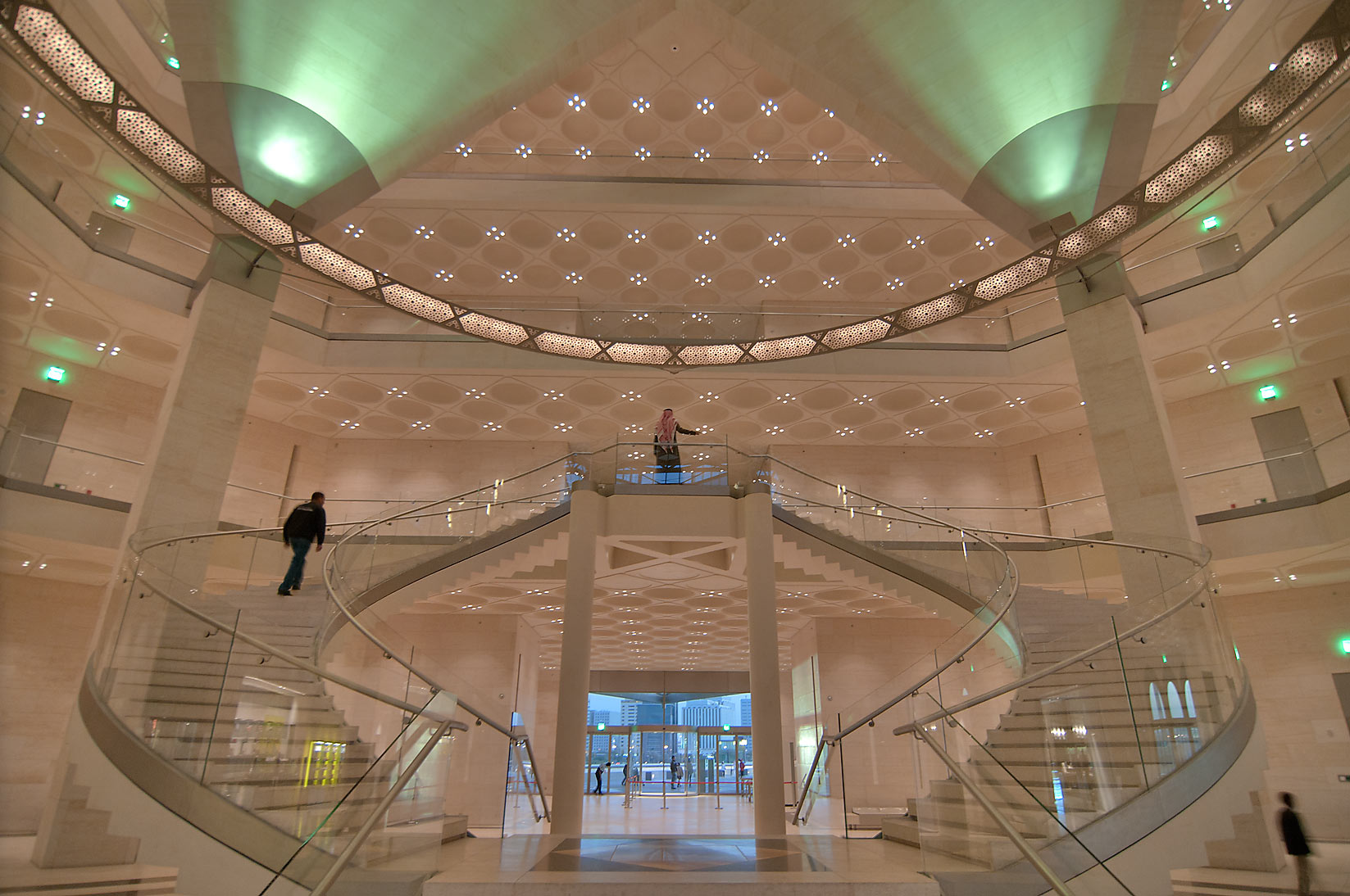 Grand staircase and perforated chandelier of Museum of Islamic Art. Doha, Qatar