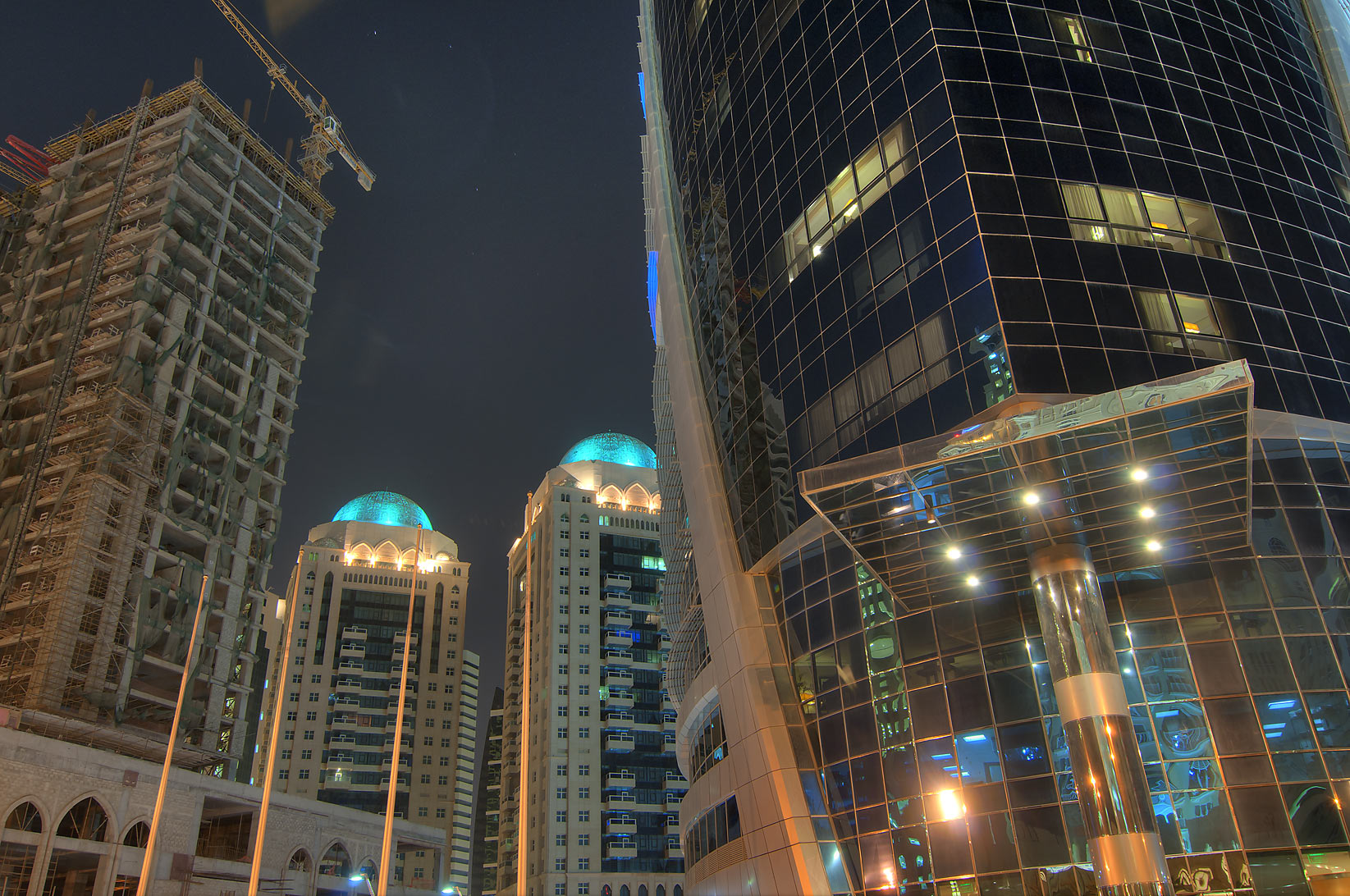 View from a foot of Moevenpick Hotel in West Bay. Doha, Qatar