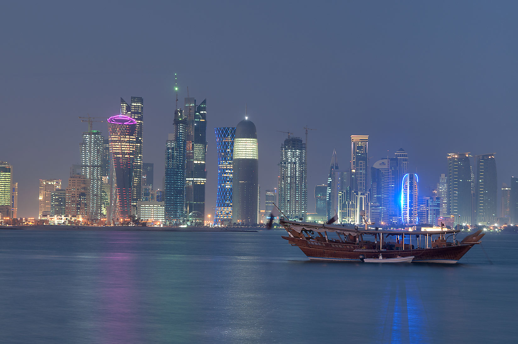 View of West Bay from a pier near Corniche. Doha, Qatar