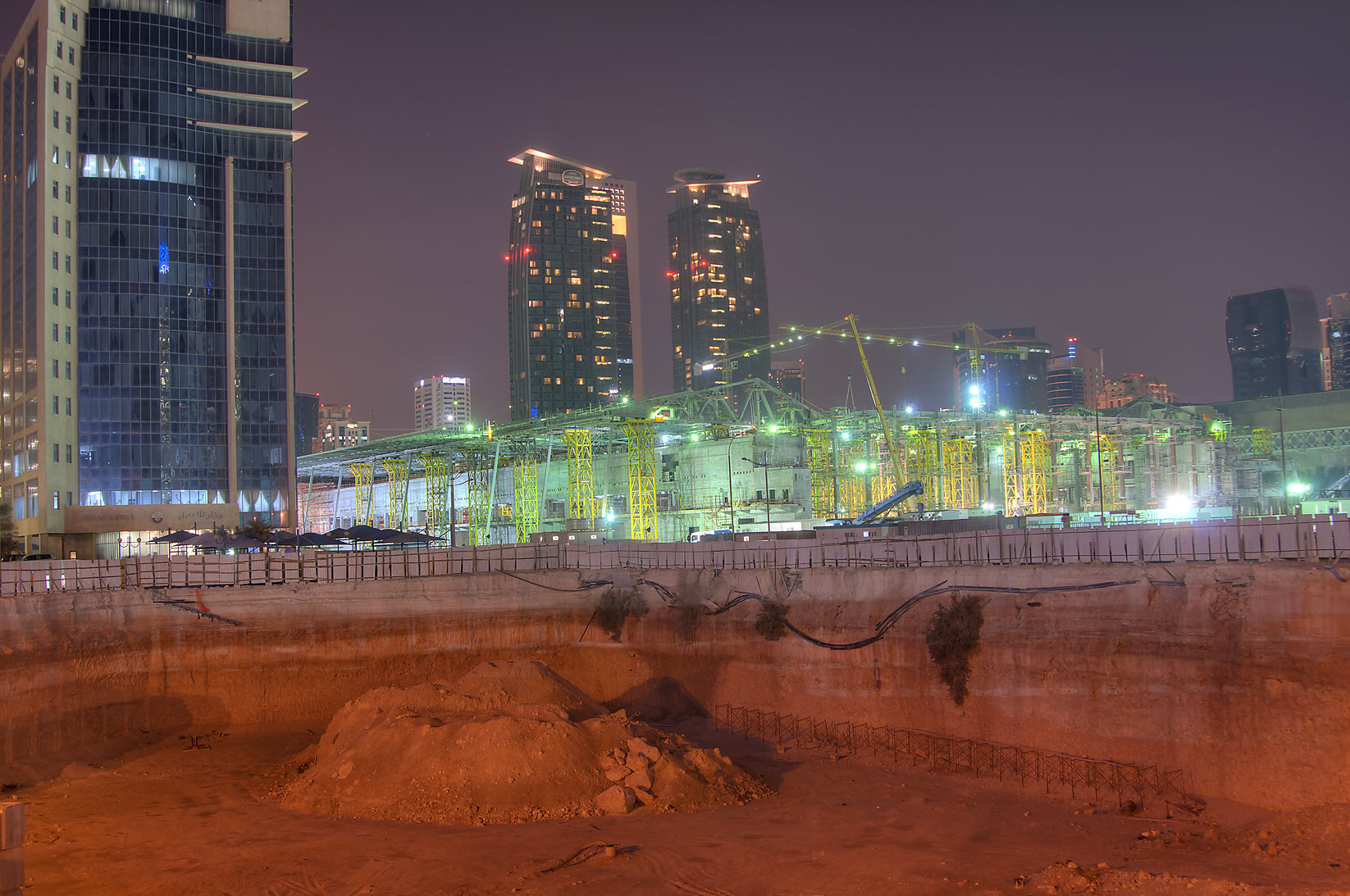 Convention Center and Tower Project, with Mariott Hotel in background. Doha, Qatar