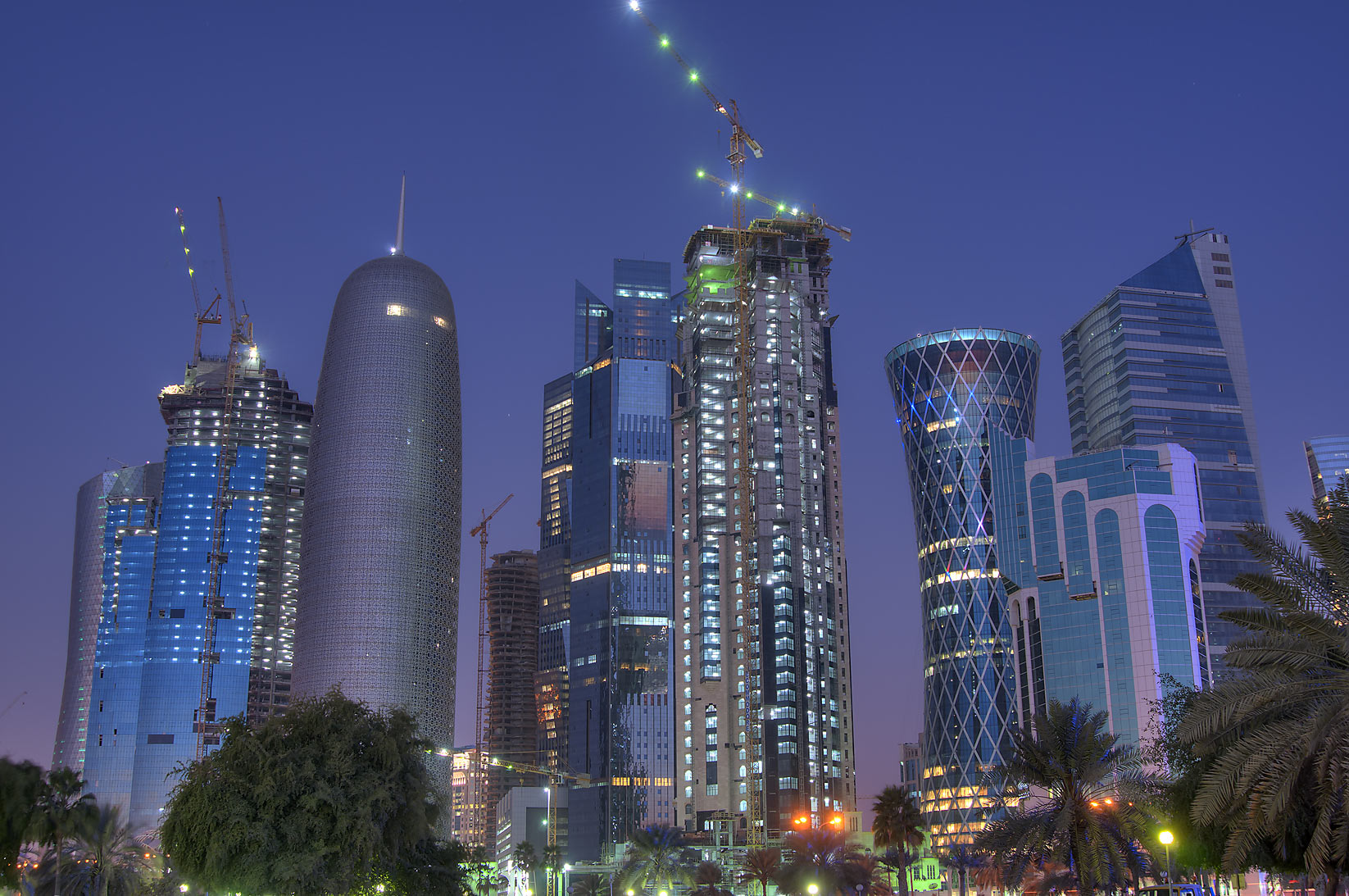 West Bay towers from Corniche in from Sheraton Park at morning dusk. Doha, Qatar