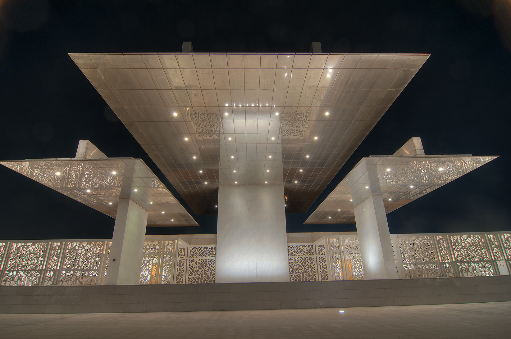 Steel canopy of Ceremonial Court on campus of Education City. Doha, Qatar