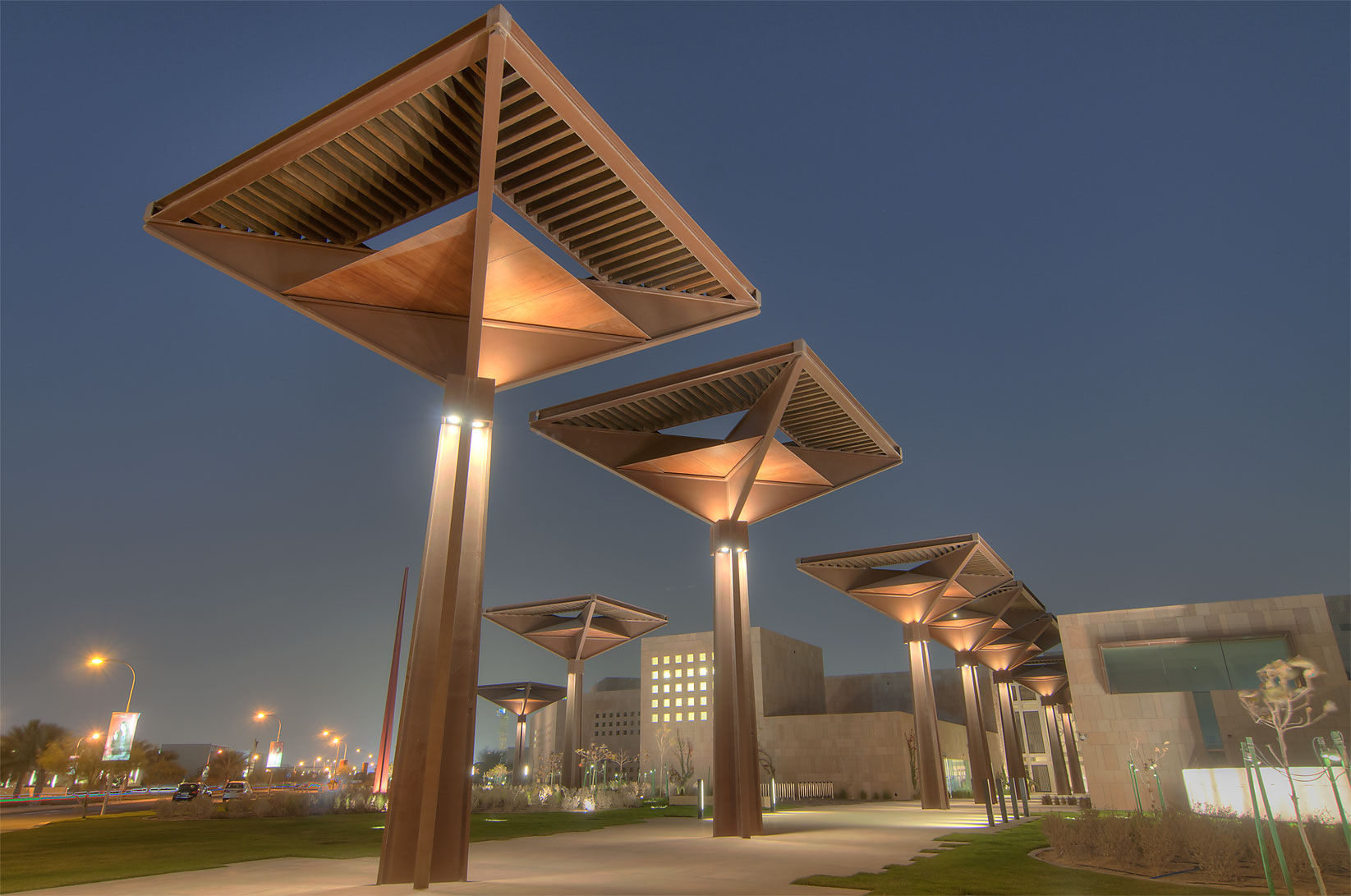 Student Center on campus of Education City at evening. Doha, Qatar