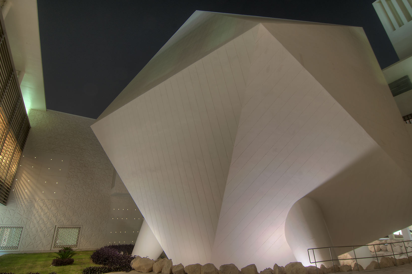 Icosahedron lecture hall of Weill Cornell Medical...Education City at evening. Doha, Qatar