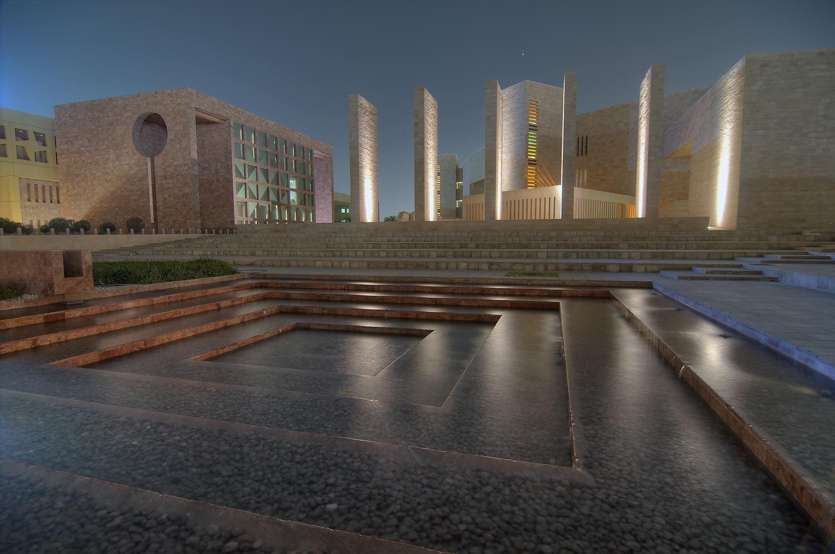 Fountain pool of Carnegie Mellon University in Education City. Doha, Qatar